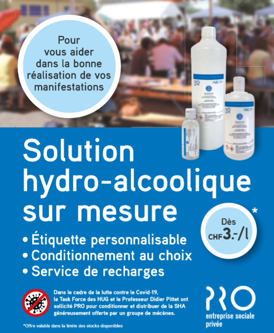 Solution hyroalcoolique gratuite et conditionnée