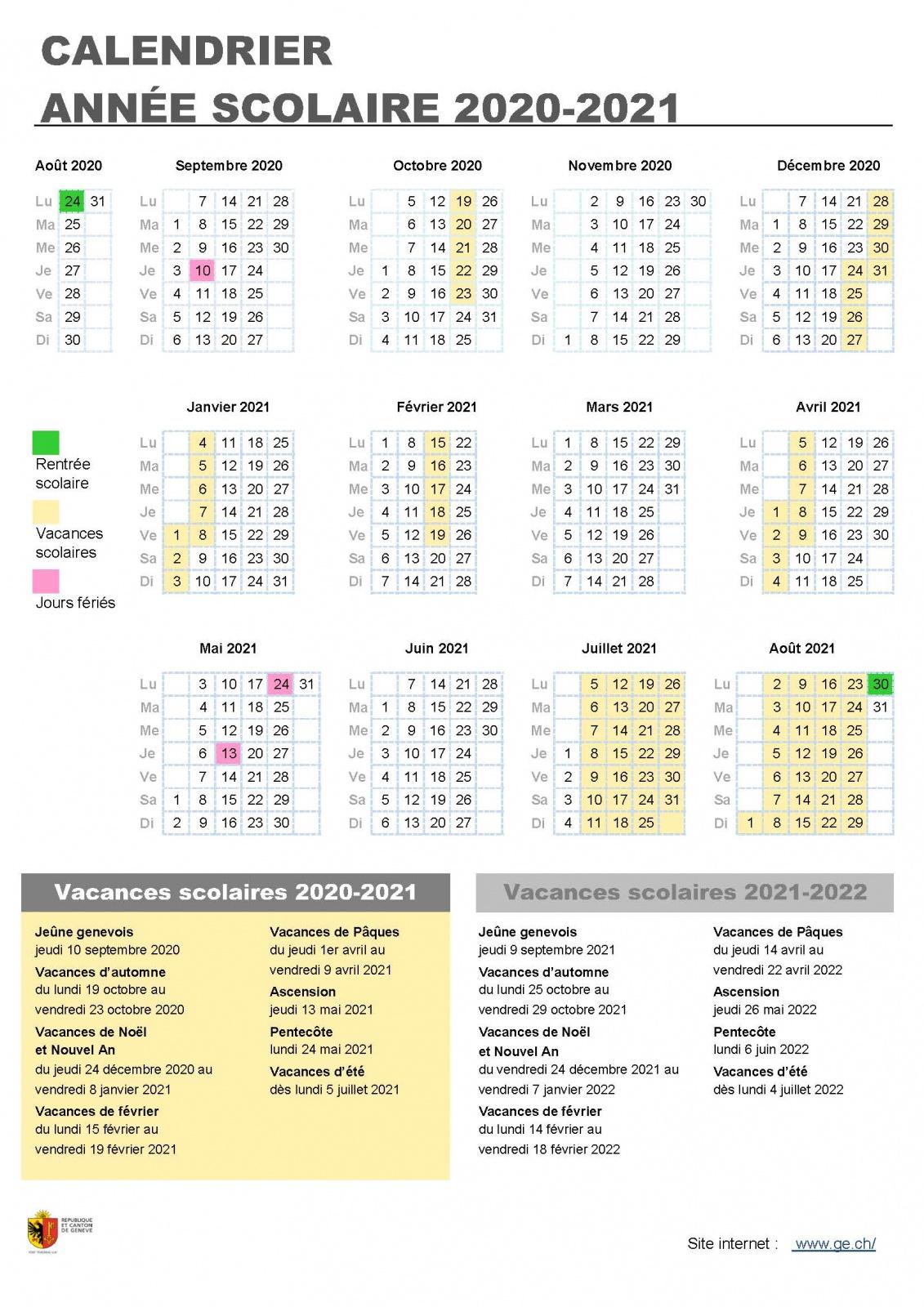 Vacances scolaires 2020 2021 | ge.ch