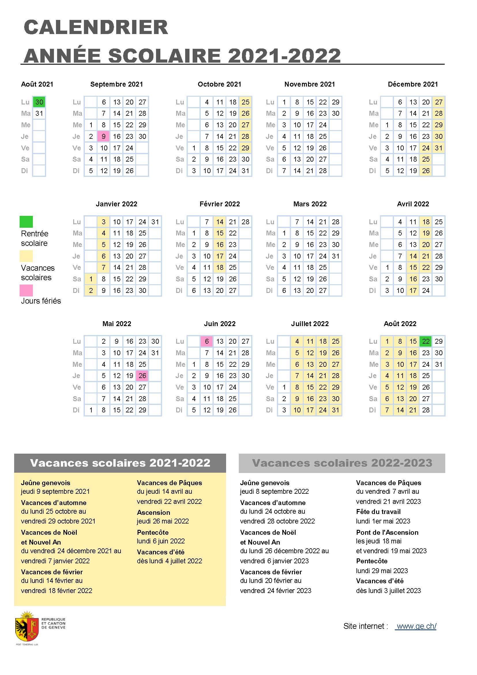 Calendrier 2022 Vacances Scolaires Vacances scolaires 2021 2022 | ge.ch
