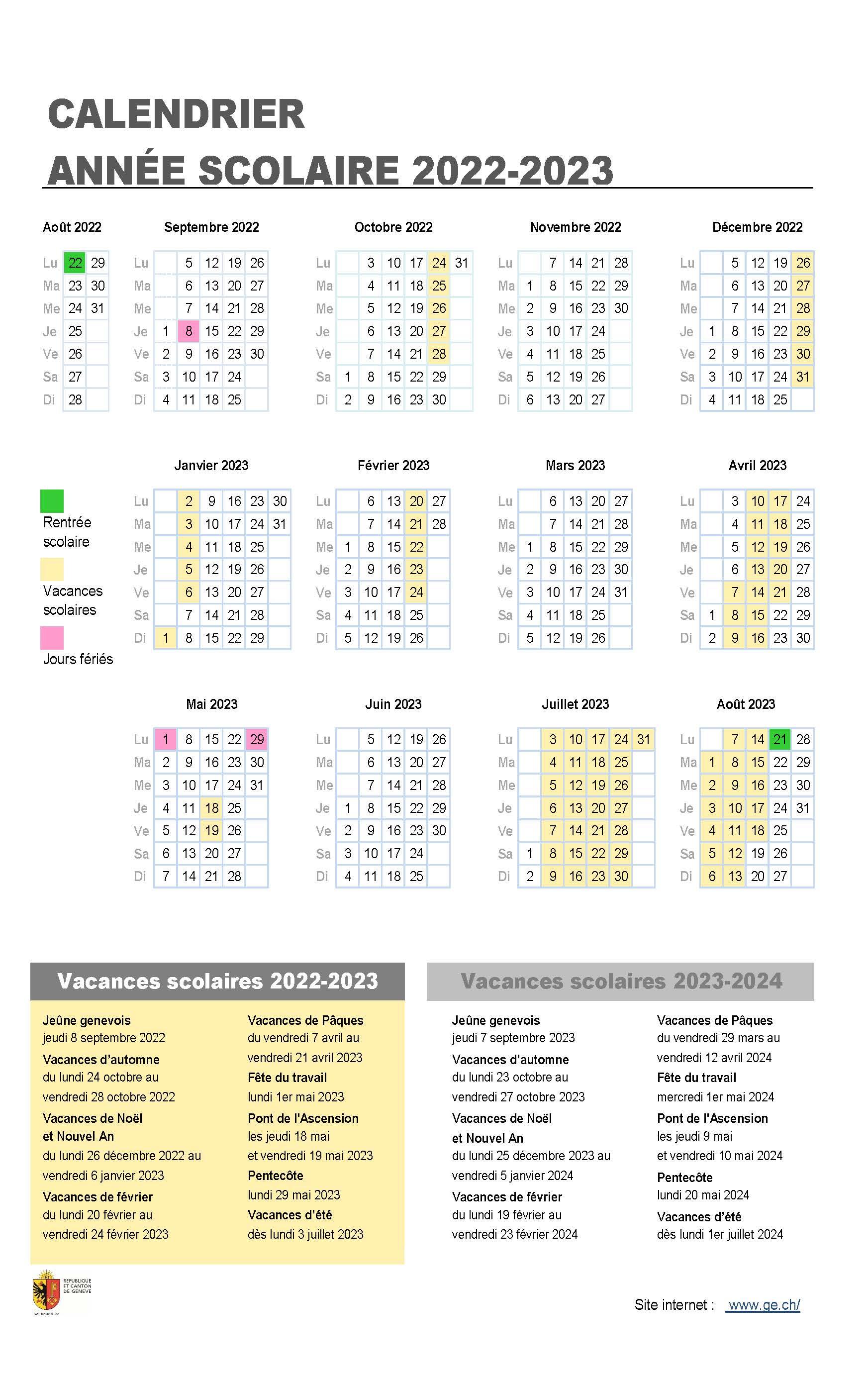 Calendrier Scolaire 2022 2023 Zone A Vacances scolaires 2022 2023 | ge.ch