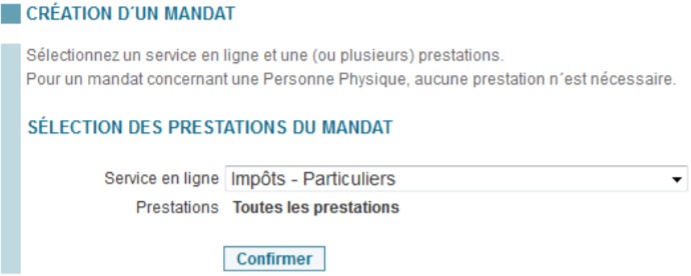 Selection des prestations du mandat