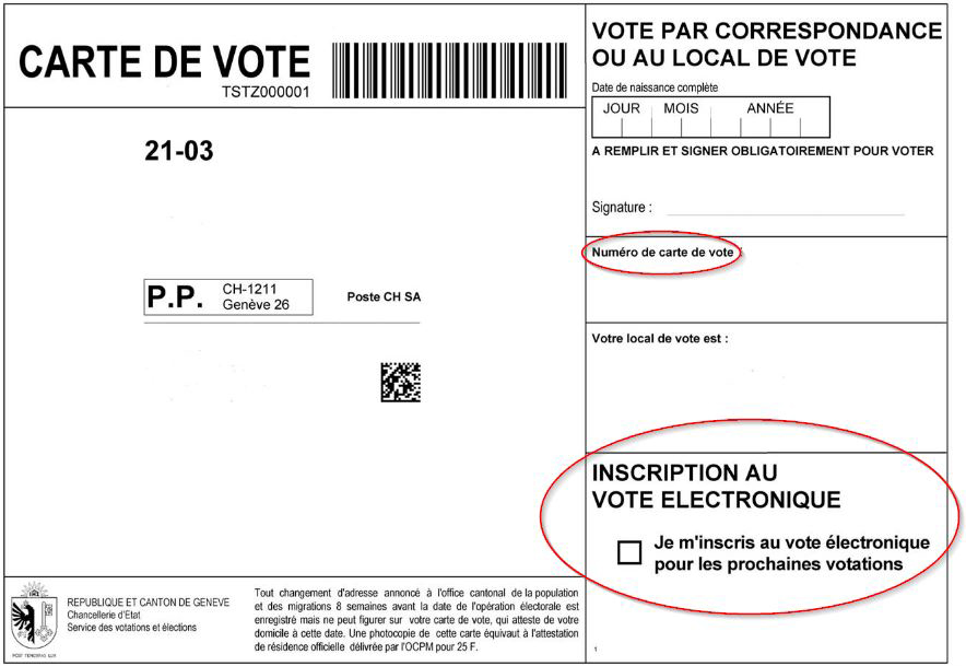 Carte de vote avec la coche inscription