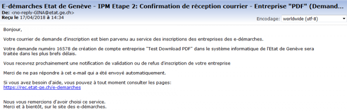 Email confirmation demande d'inscription