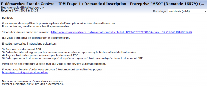 Email d'inscription etape 1