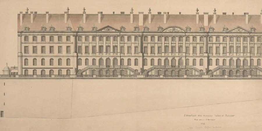Jean-Jacques Dufour, élévation des façades et du mur des terrasses de trois hôtels de la rue des Granges, côté Plainpalais