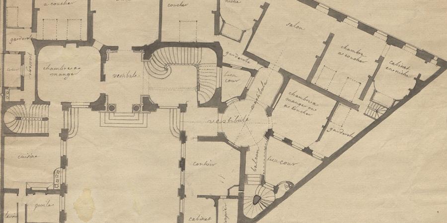 Projet pour l'hôtel Sellon, plan du rez-de-chaussée, vers 1719. AEG; Office du patrimoine et des sites, O. Zimmermann