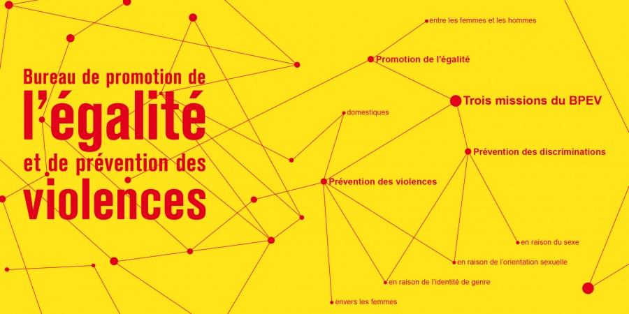 sur le fond jaune logo et missions du bureau de l'égalité