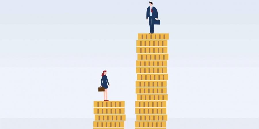 femme et hommes avec des différences salariales