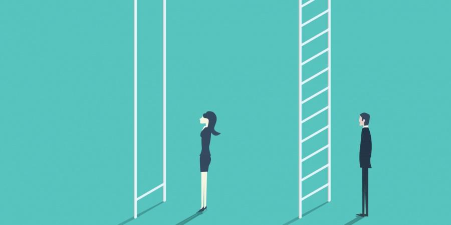femme et hommes devant les échelles inégales