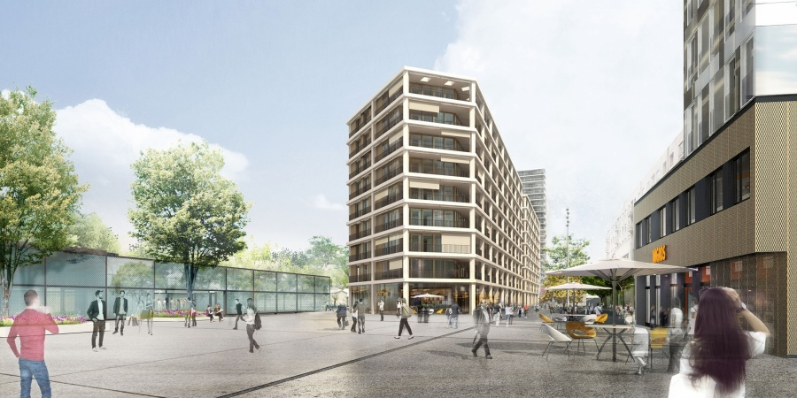 Place de la gare avec bâtiments de logements © EMA archictectes-Image Camille François
