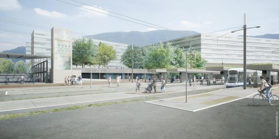 Genève-Bachet - Espaces publics et tram © Bureau MSV & Archigraphie