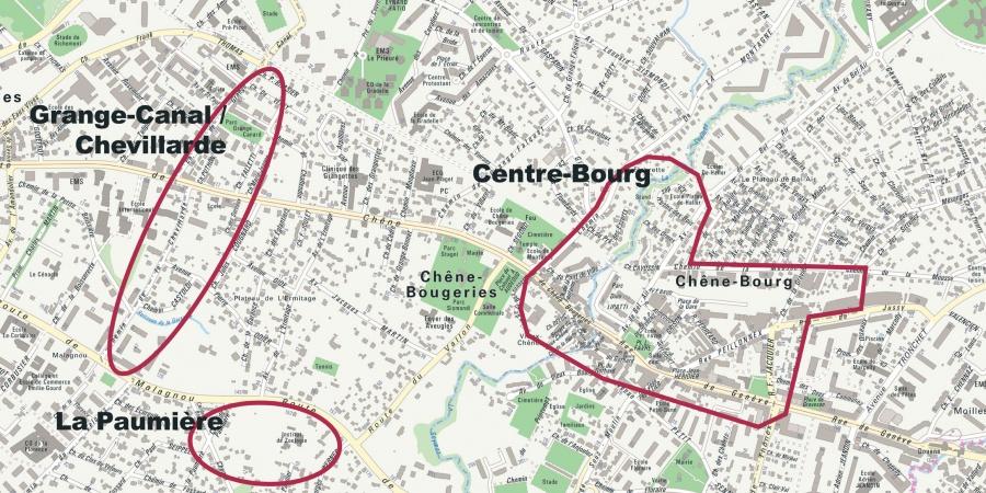 Les trois périmètres du projet Chêne-Bourg – Chêne-Bougeries © Etat de Genève