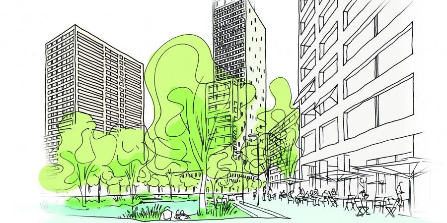 Ambiance urbaine place de l'Etoile © Dupraz & Byrne, croquis F. Hemidi