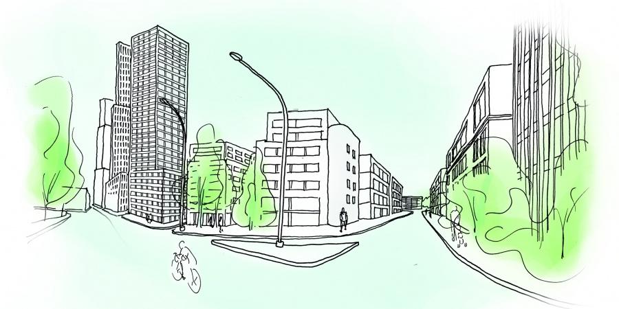 Ambiance urbaine route des Jeunes © Etat de Genève, croquis F. della Casa/F. Hemidi