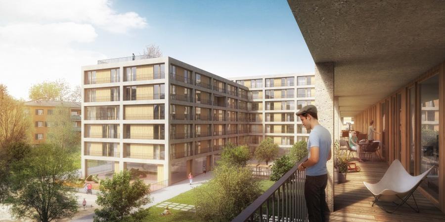Quartier de l'Adret - DARJEELING, projet lauréat du concours d'architecture Lot A © TRIBU architecture, Lausanne