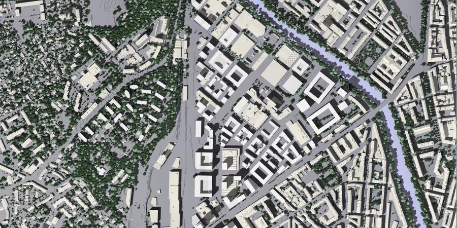Image directrice Acacias – préfiguration de la forme du quartier © Etat de Genève
