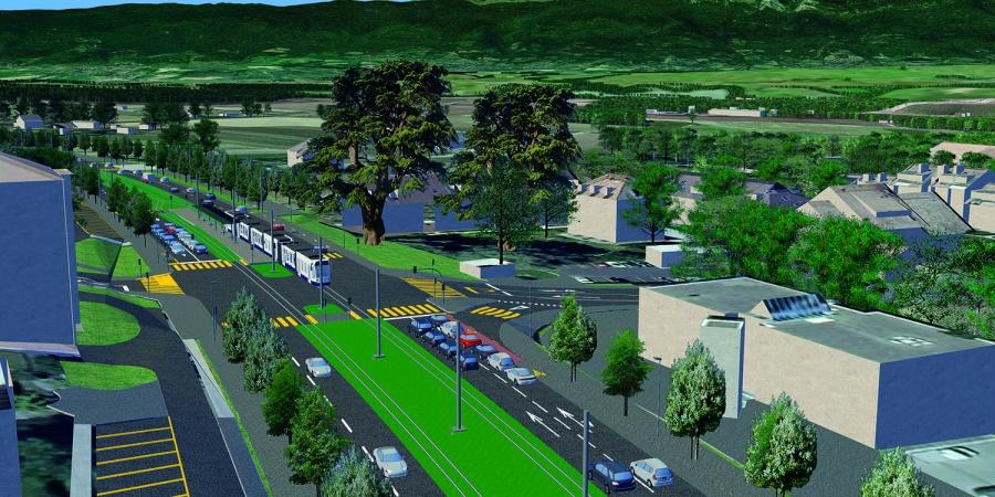 Extension du tram à Bernex (C) Ertec/DI