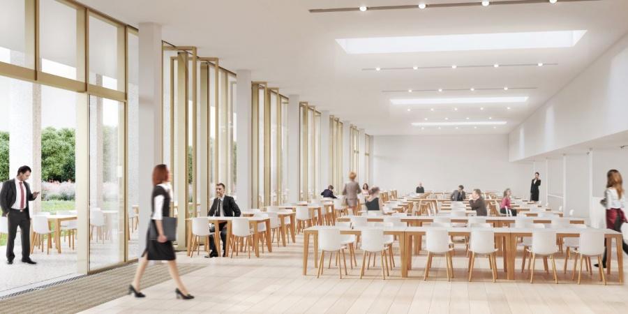 Cafétéria du nouveau bâtiment / © Skidmore, Owings & Merill Inc / Burckhardt + Partner SA