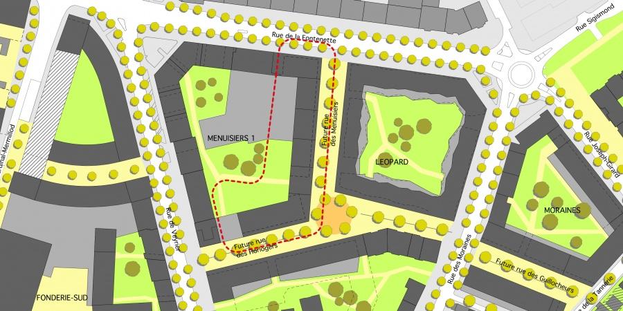 Extrait du plan-guide - périmètre du projet Menuisiers 1