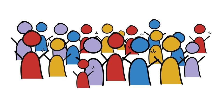 Image en style dessiné représentant un groupe de personnes qui lèvent les bras