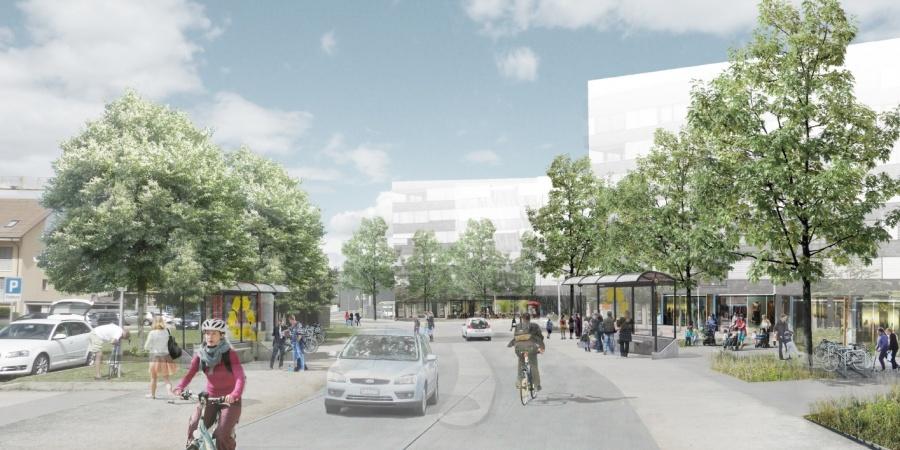 Place de Saint Mathieu (Charte des Espaces publics et ouverts/Commune de Bernex) © Agence LVLMPlace de Saint-Mathieu