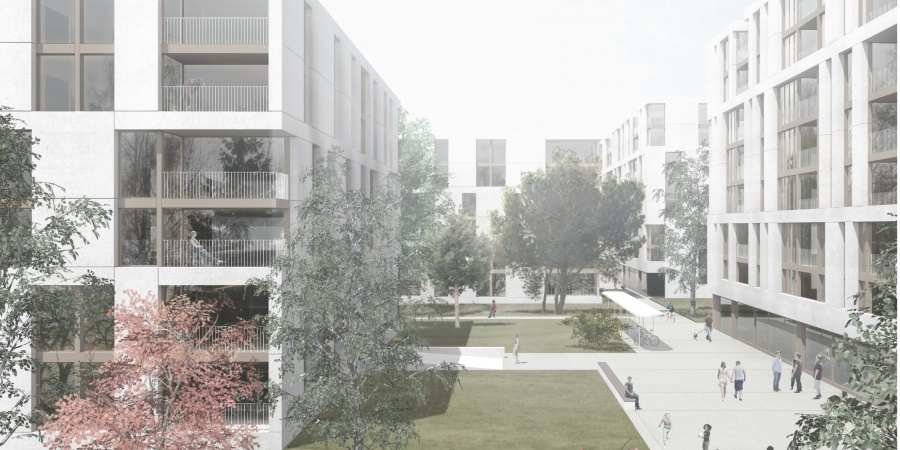 Quartier de l'Adret - arkham, lauréat du concours d'architecture Lots B+C © Lopes & Périnet-Marquet-Genève