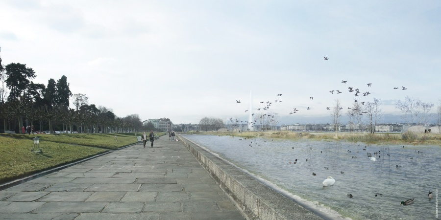 La jardin d'eau de la Plage publique des Eaux-Vives