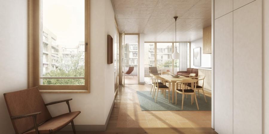 Les Vernets - appartement vue intérieur © Losinger Marazzi SA