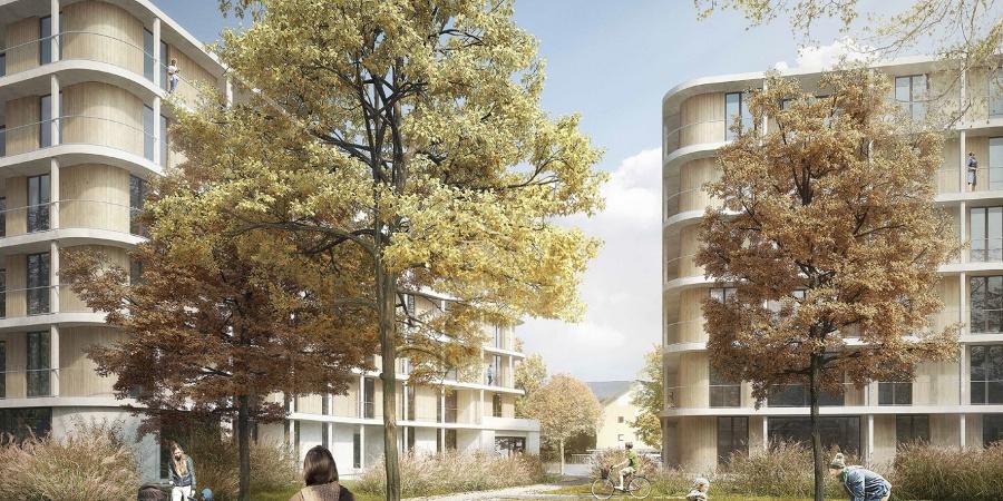 Vue du cœur d'îlot St-Mathieu (Opalys Project SA - Image de synthèse - widmann architectes)