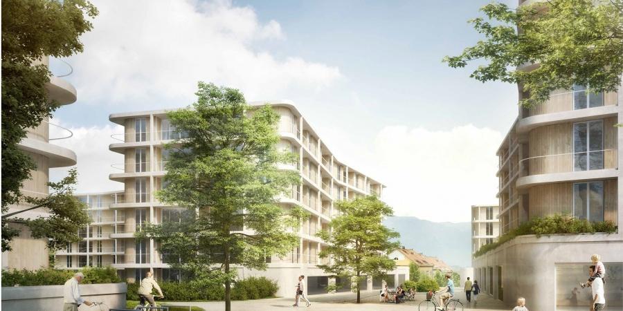 Vue du mail St-Mathieu (Opalys Project SA - Image de synthèse - widmann architectes)
