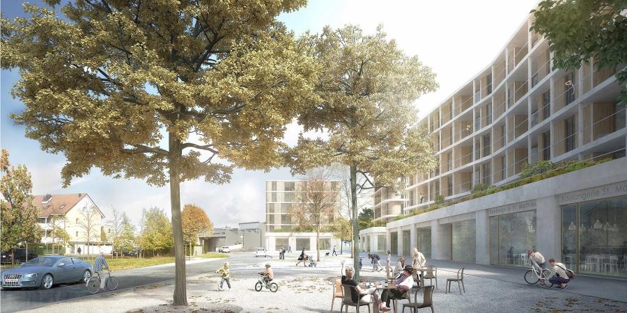 Vue de la Place de St-Mathieu (Opalys Project SA - Image de synthèse - widmann architectes)