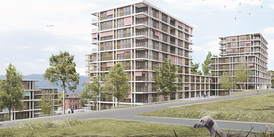 Projet lauréat Serpentine - vue depuis le chemin Auguste-Vilbert © group 8 + Hager Partner AG