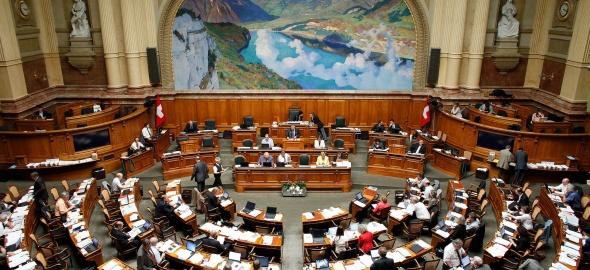 L'Assemblée fédérale dans la salle du Conseil national à Berne