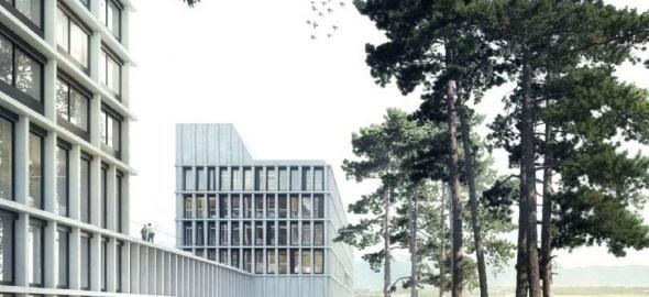 Vue d'ensemble des futurs bâtiments de la police internationale et du centre fédéral pour requérants