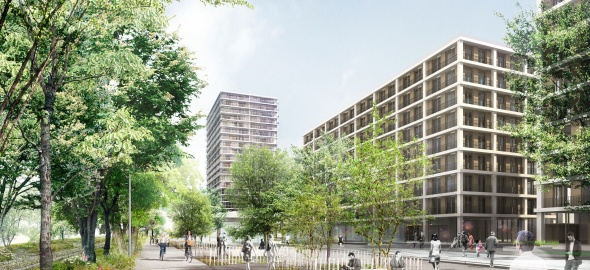 espaces publics le long de la voie verte et bâtiments de logements © EMA archictectes-Image Camille François