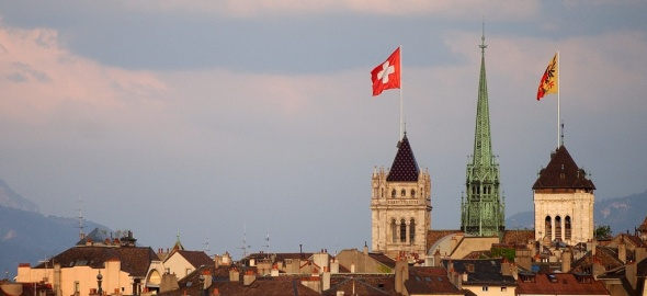 Vue sur la vieille ville de Genève