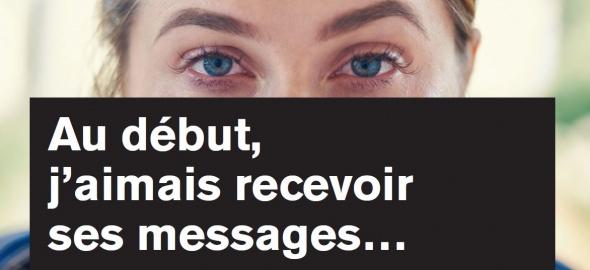 yeux femme avec un texte sur les messages