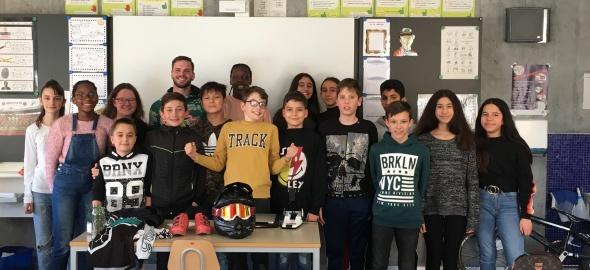 Visite de l'athlète Renaud Blanc dans une classe
