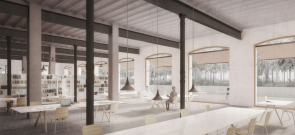 Salle de consultation du futur Hôtel des archives