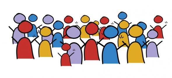 Groupe de pictogrammes figurant des personnages en couleurs
