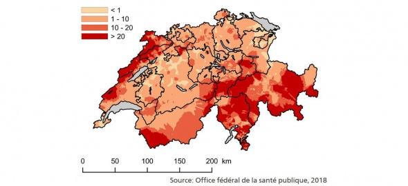 Carte du radon en Suisse, OFSP