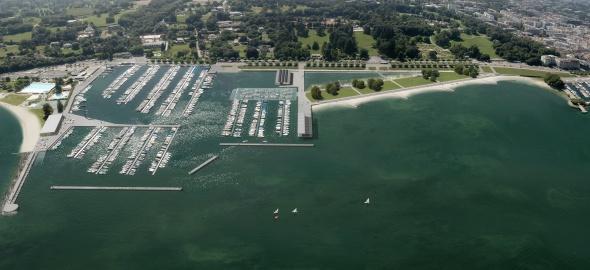 le port de la plage publique des Eaux-Vives