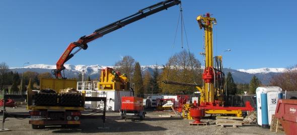 Installation du forage à Satigny