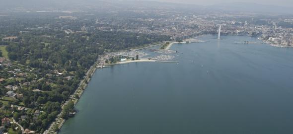 Vue aérienne du projet de plage publique des Eaux-vives