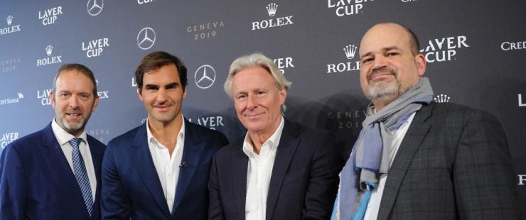 Thierry Apothéloz accompagné de Sami Kanaan, Björn Borg et Roger Federer