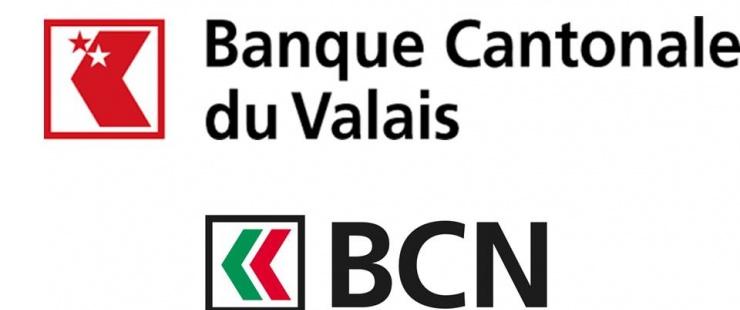 Logos des banques cantonales du valais et de neuchâtel