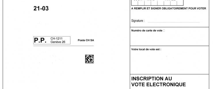 carte de vote avec coche pour s'inscrire au vote électronique