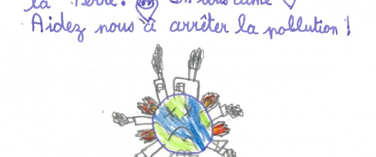 """dessin d'enfant """"Aidez-nous à arrêter la pollution""""!"""