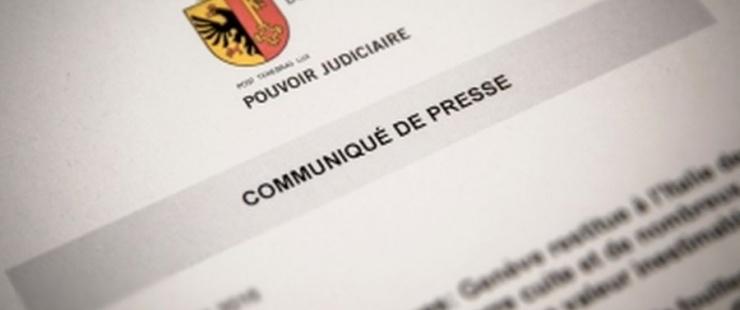 COMMUNIQUÉ DE PRESSE DU MINISTÈRE PUBLIC