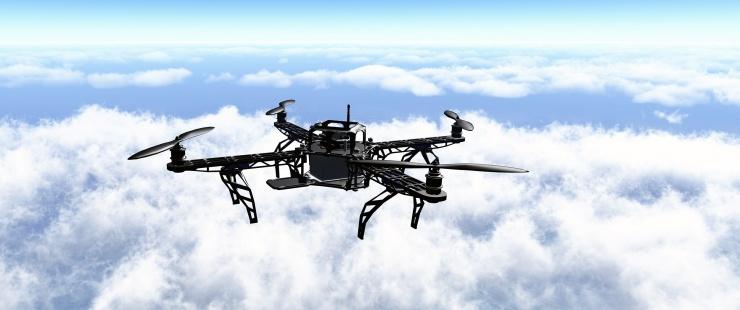 Un drone qui vole dans les airs